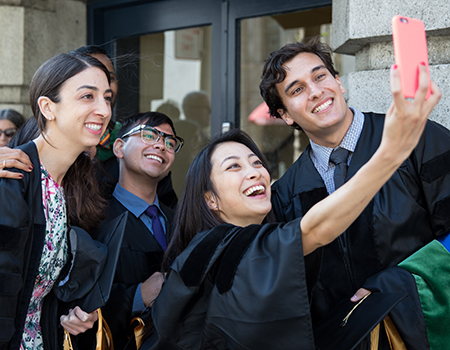 group selfie of graduates