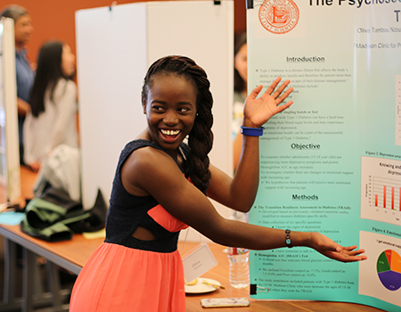 high school student at poster session