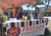 Bernadette Lim (left) volunteering at the Freedom Community Clinic, a clinic she founded in 2019.